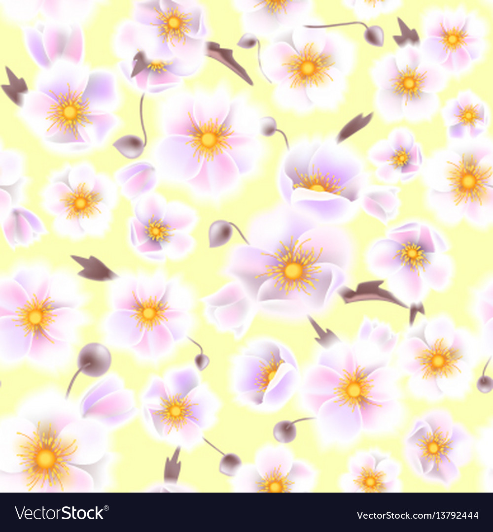 Seamless soft pattern with anemones small flowers