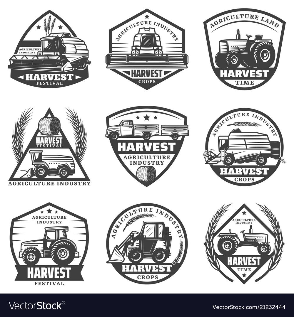 Vintage agricultural machinery labels set