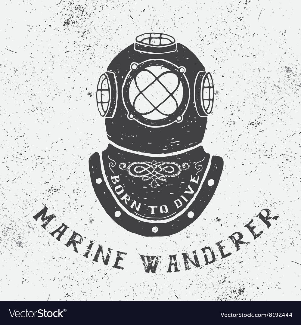 Vintage label with diving helmet