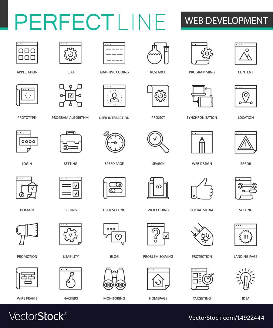 Web development thin line web icons set seo