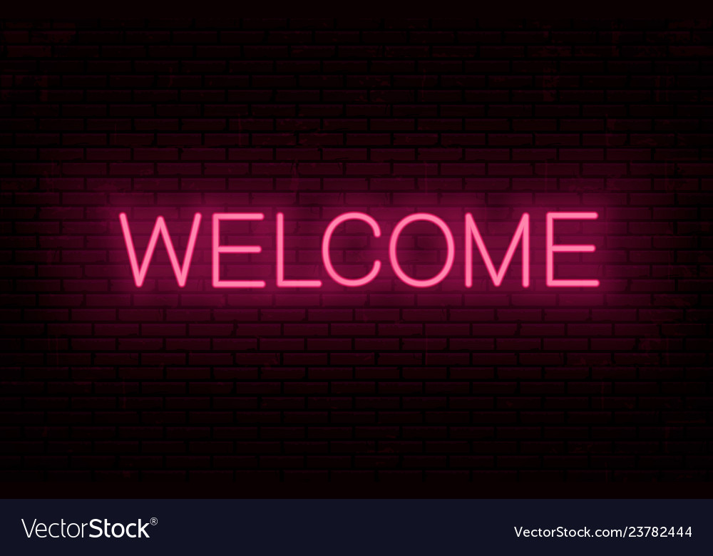 Welcome red neon inscription