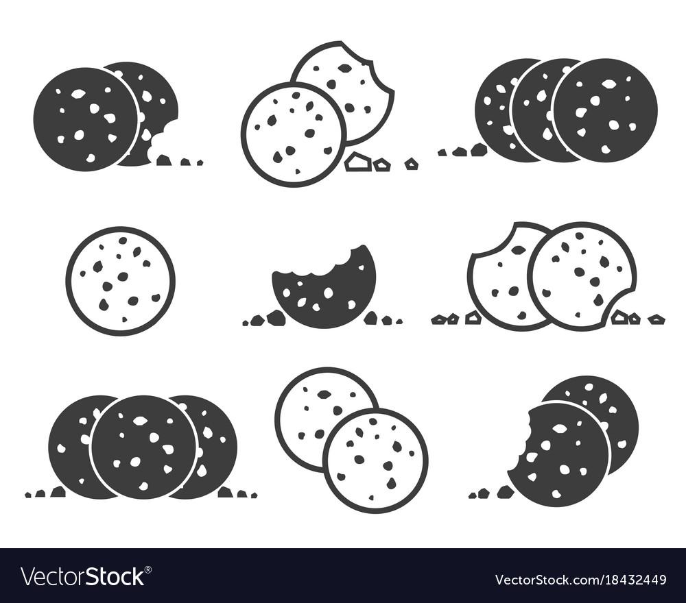 Bitten chip cookies icon set vector image