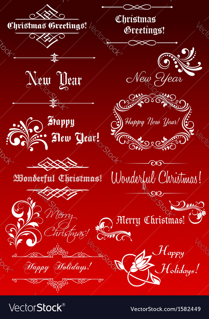 Christmas and New Year decorative elements