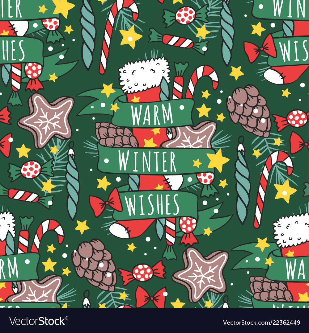 Christmas seamless pattern new year hand