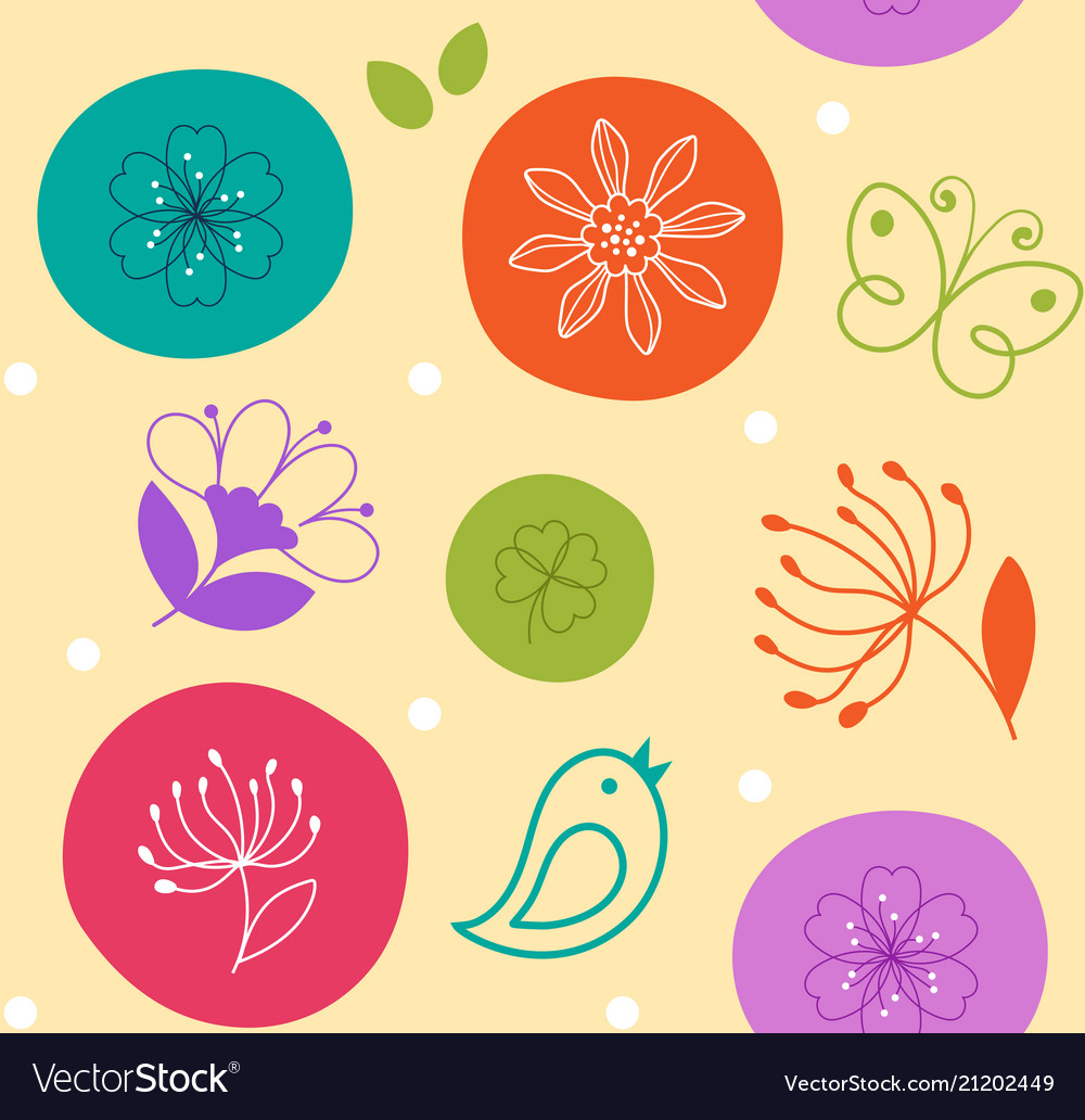 Colorful seamless pattern cute flower bird and