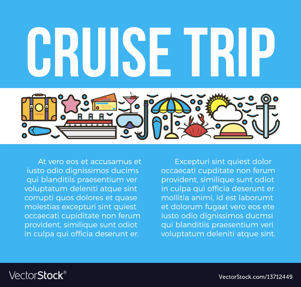 Cruise trip banner with travelling symbols
