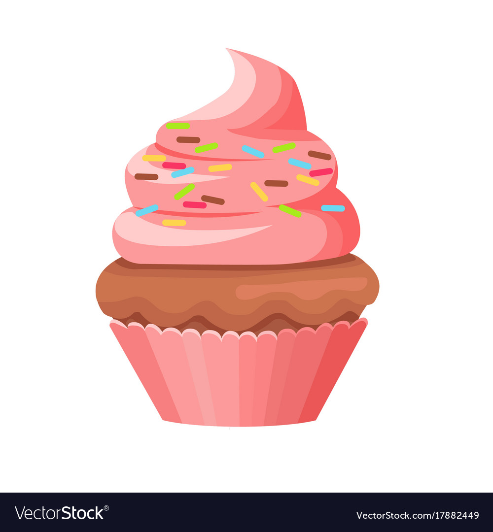 Cupcake with chocolate biscuit and swirl topping vector image