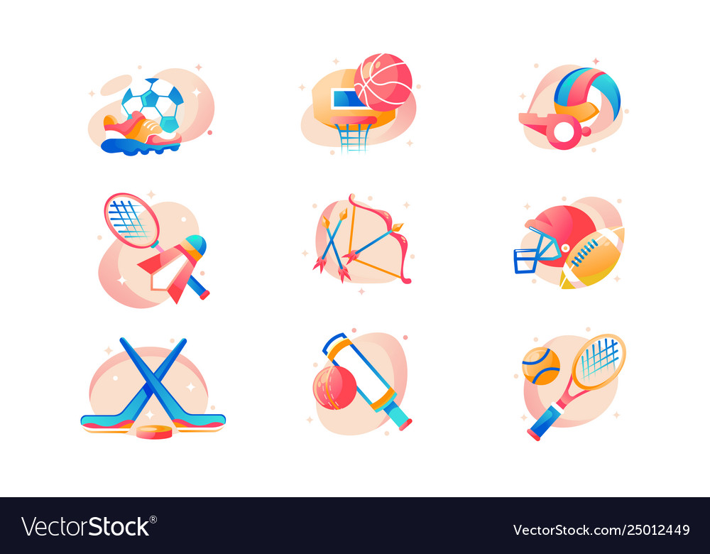 Flat sport icon set with football basketball