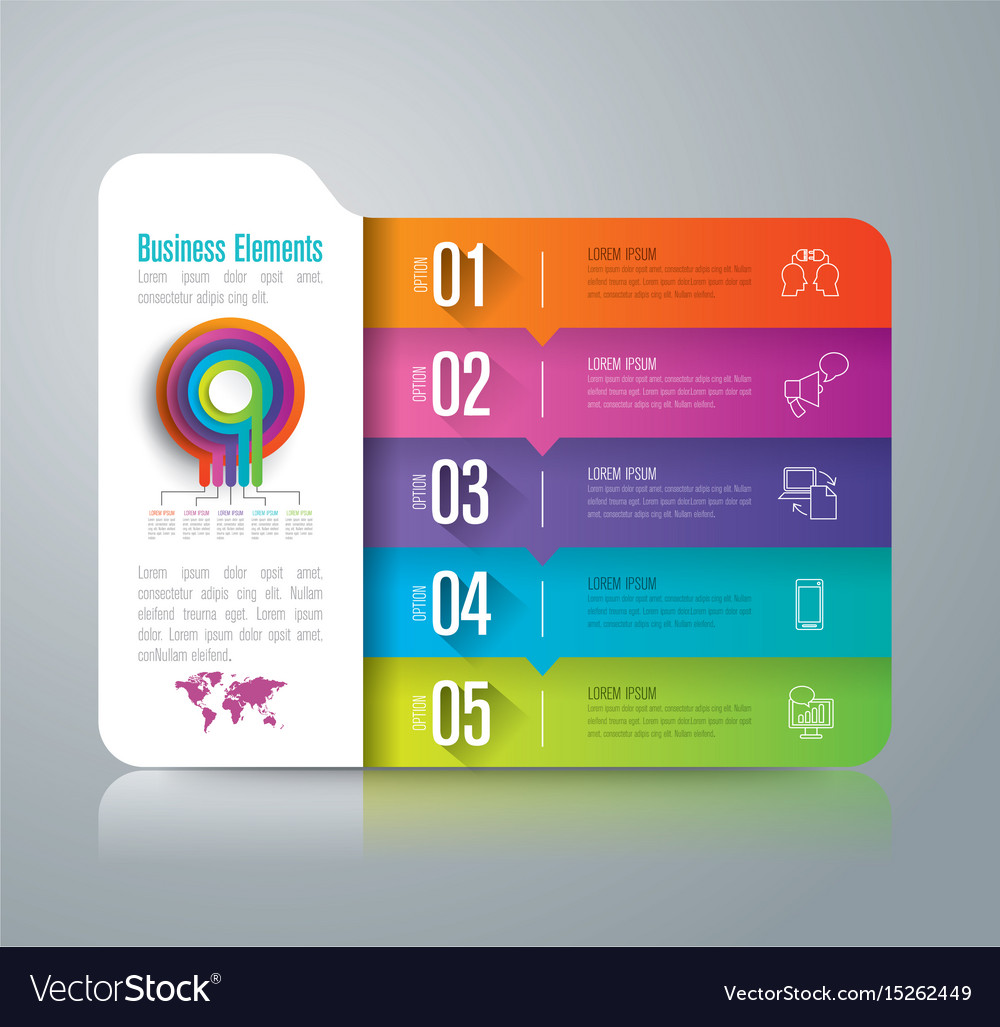 Folder infographics design with 5 options