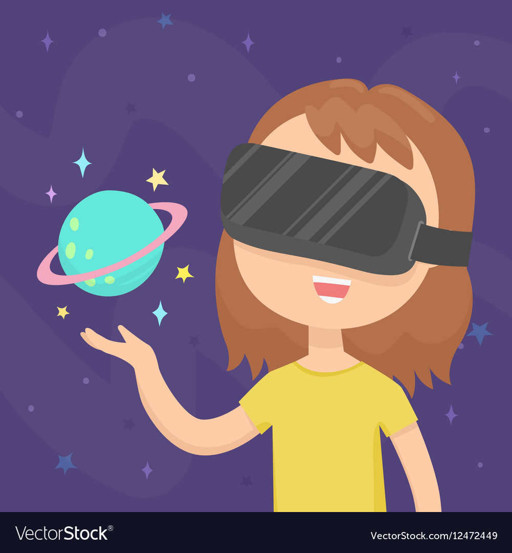 Girl wearing a virtual reality glasses in space