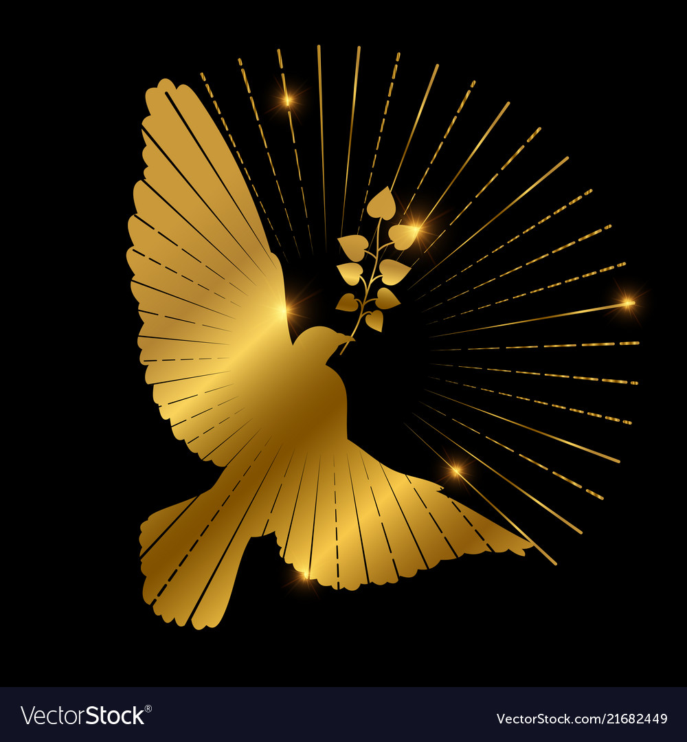 Golden dove of peace logo design pigeon branch