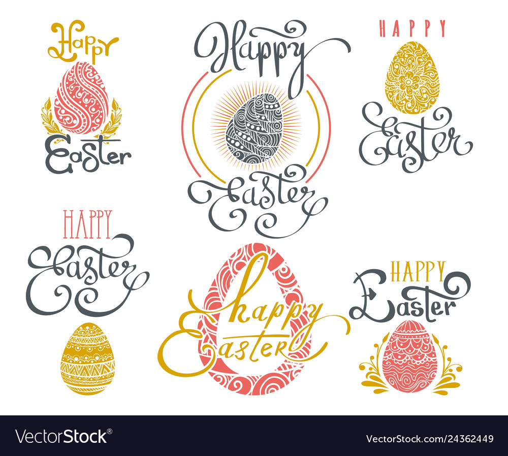 Hand drawn easter words
