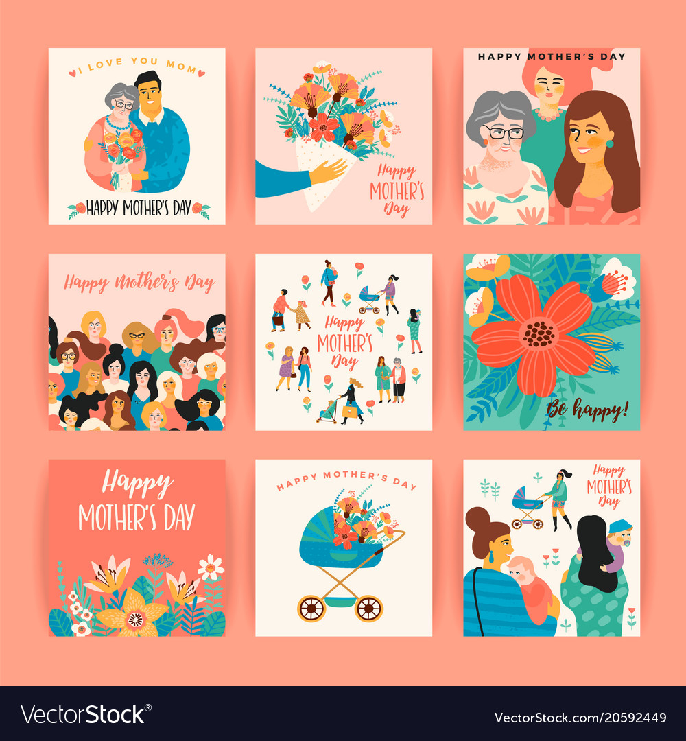 happy mothers day templates for card royalty free vector