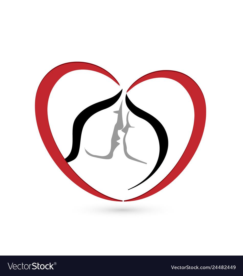 Kissing couple in a heart shape logo