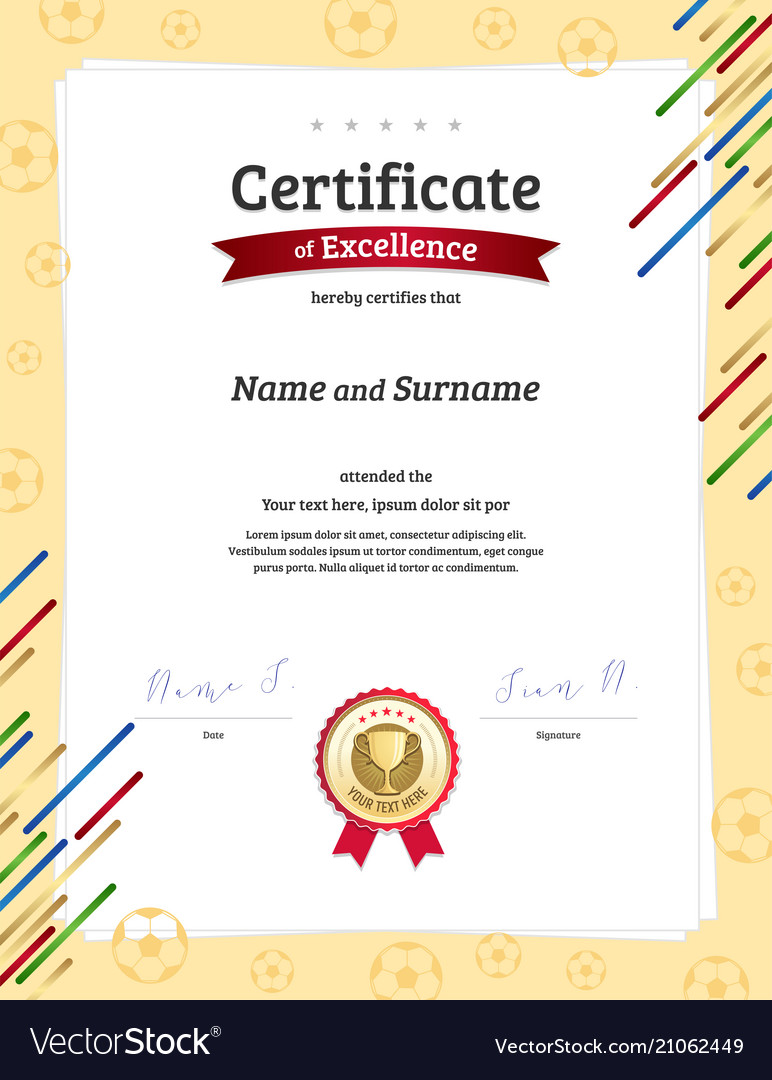 Portrait Certificate Template In Football Sport Vector Image