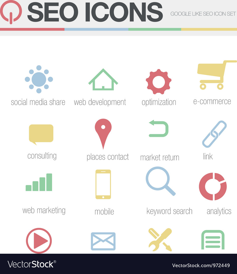 SEO Google like icons set volume 1