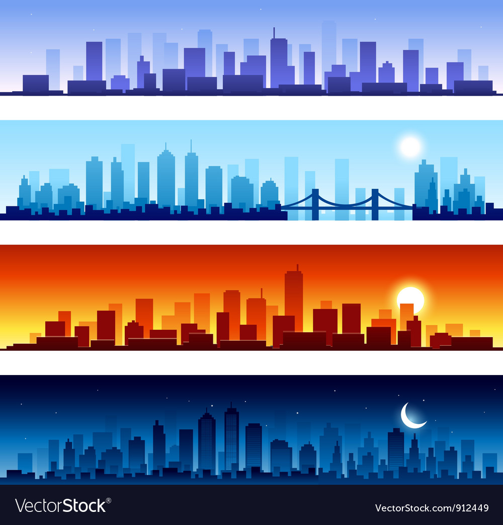 Set of city skylines background vector image