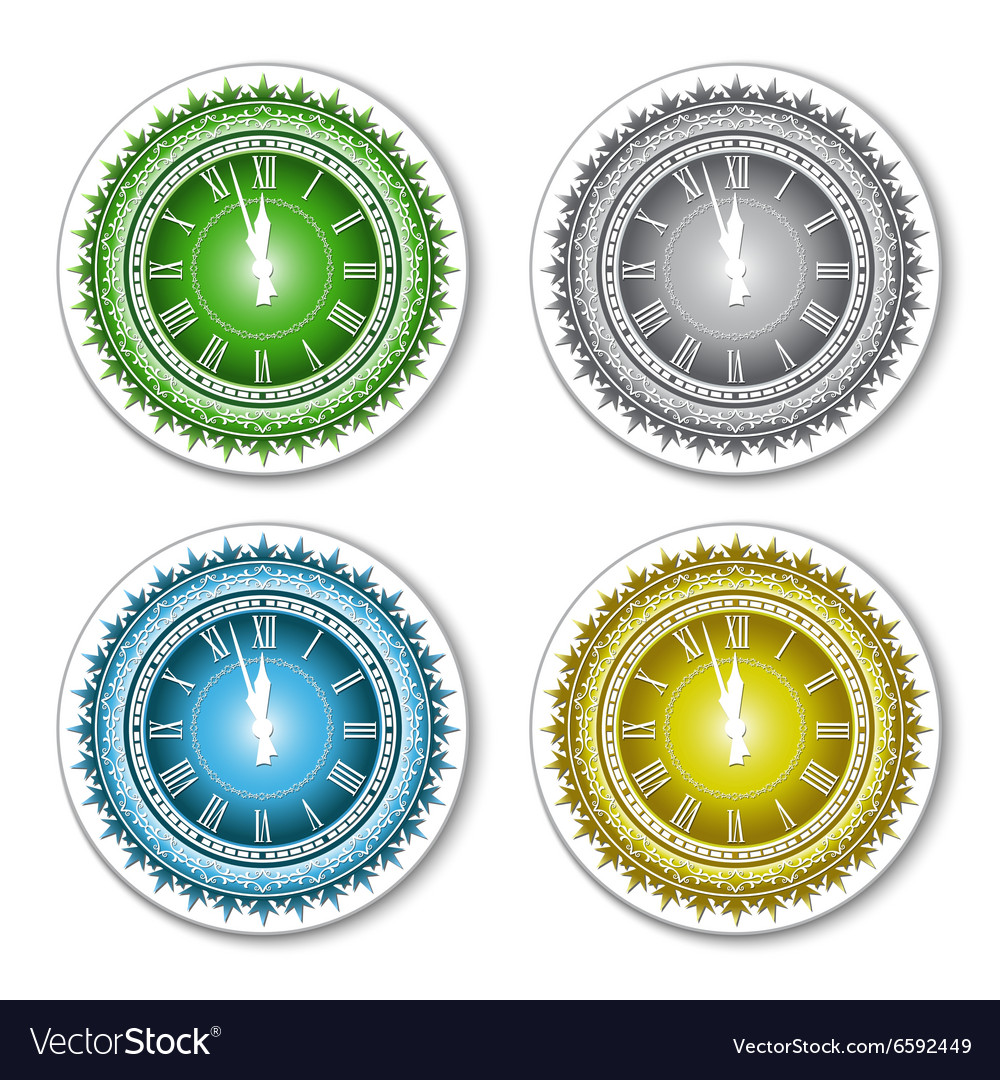 Set of isolated colorful wall clock