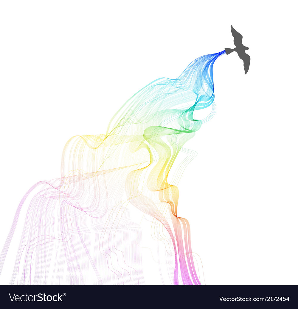 Abstract colorful background with bird and wave