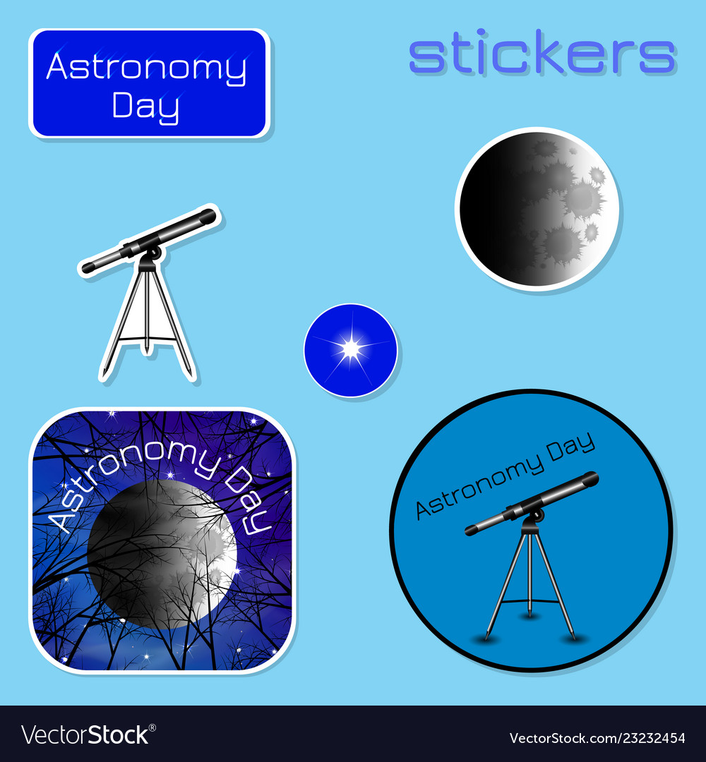 Astronomy day stickers in shades of blue