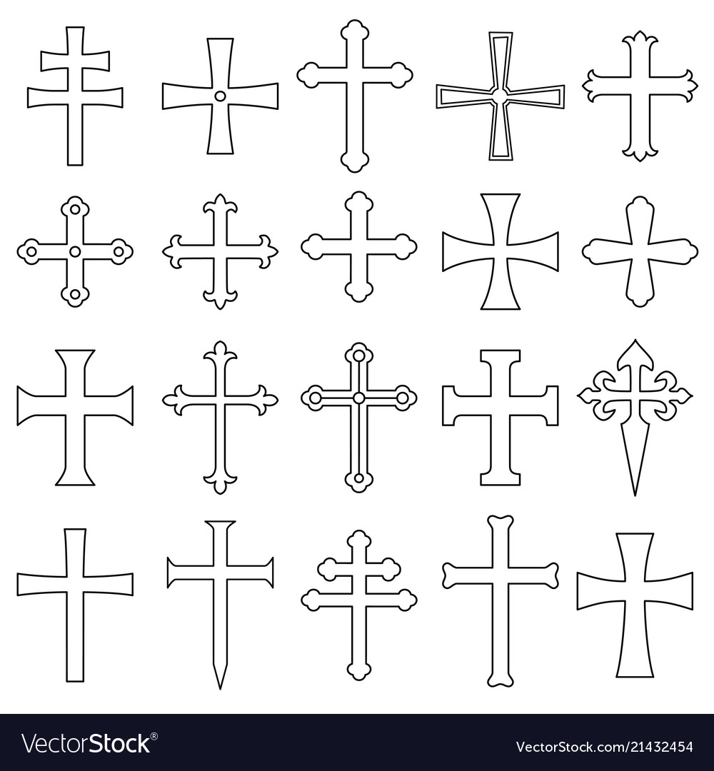 Christian crosses icons set outline