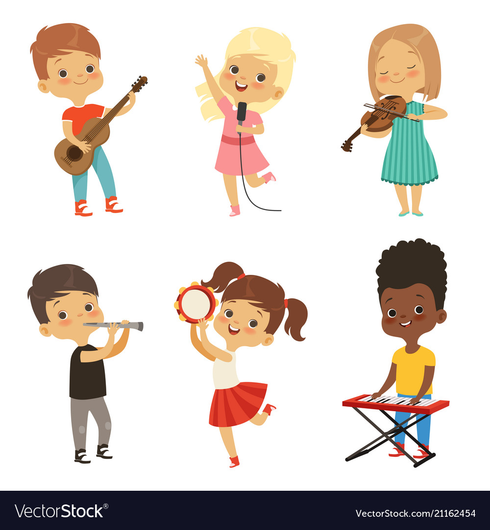 Different kids singing musicians isolate on white