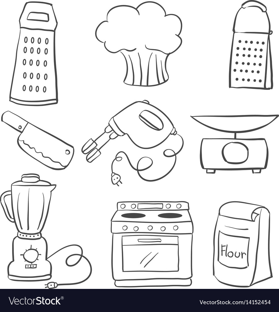 Doodle Of Kitchen Equipment Hand Draw Royalty Free Vector