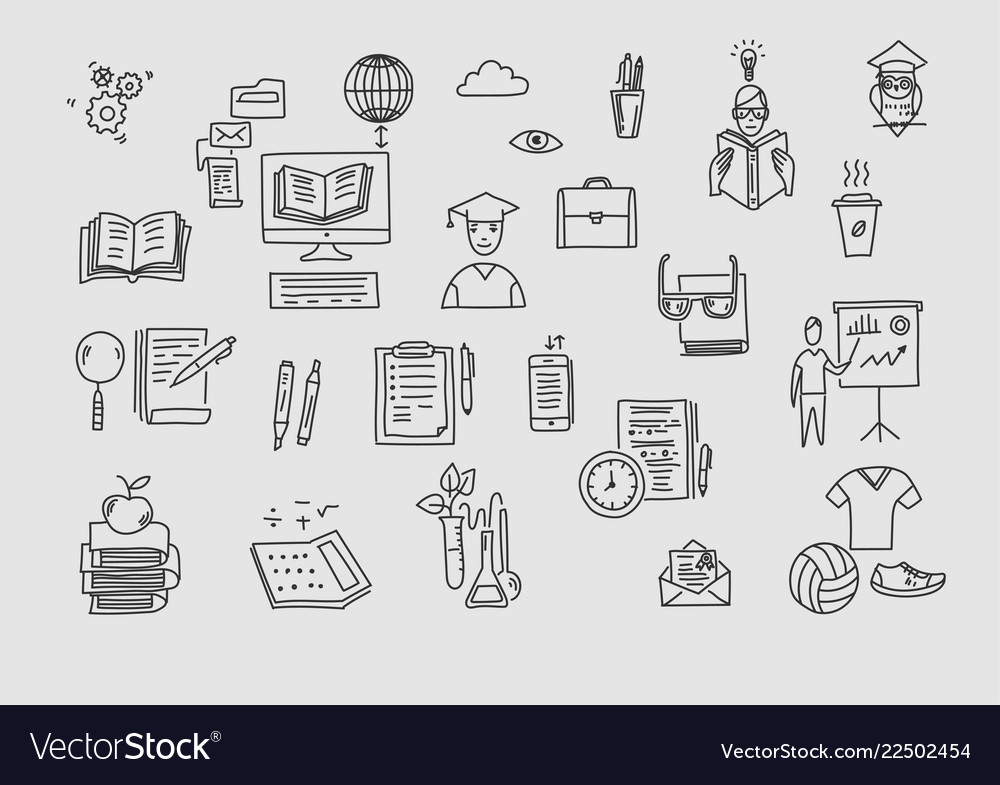 Hand drawn doodle school icons and symbols