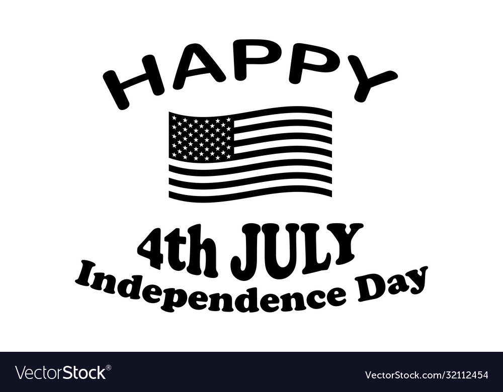 Happy 4th july independence day text with america