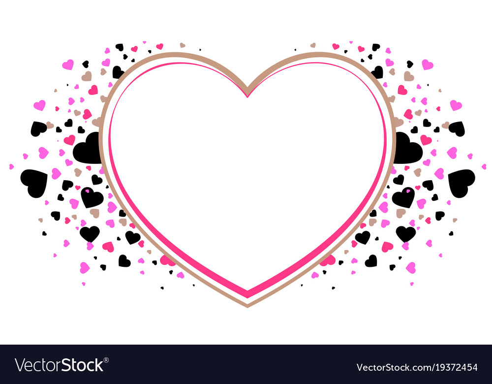 Heart Shape Frame Symbol Of Love Valentines Day Vector Image