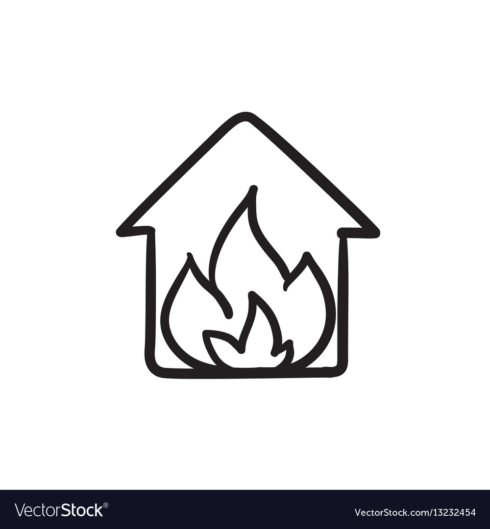 House on fire sketch icon