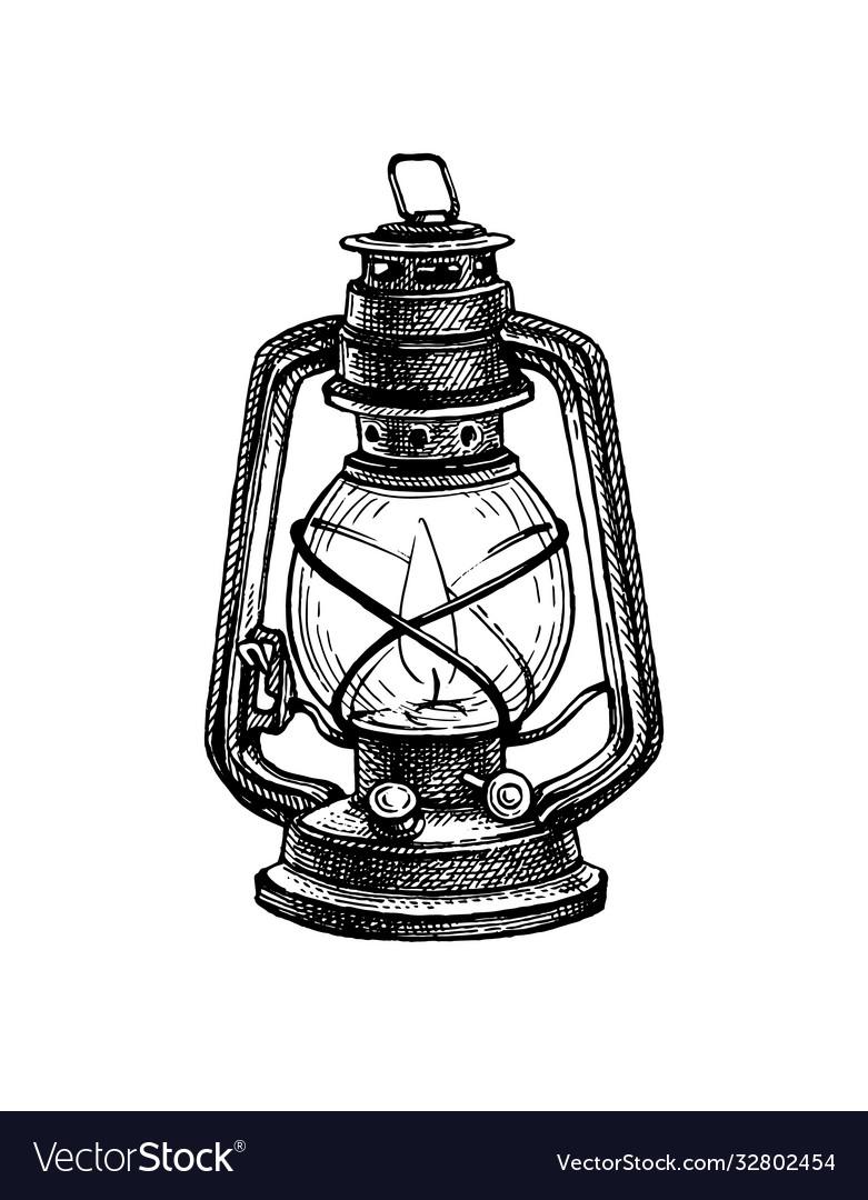 Ink sketch kerosene lamp