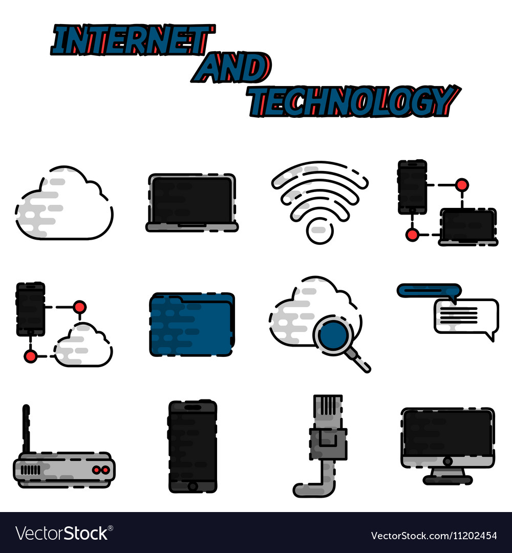 Internet and technology flat icon set