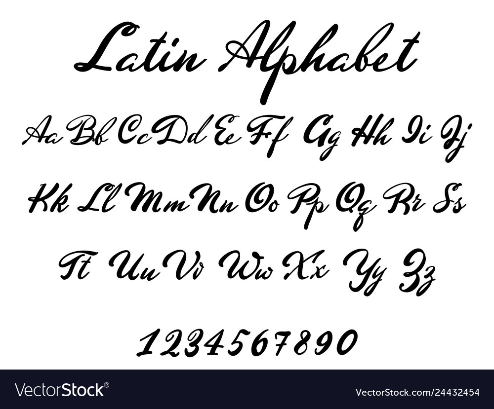 Latin alphabet classical calligraphy and lettering