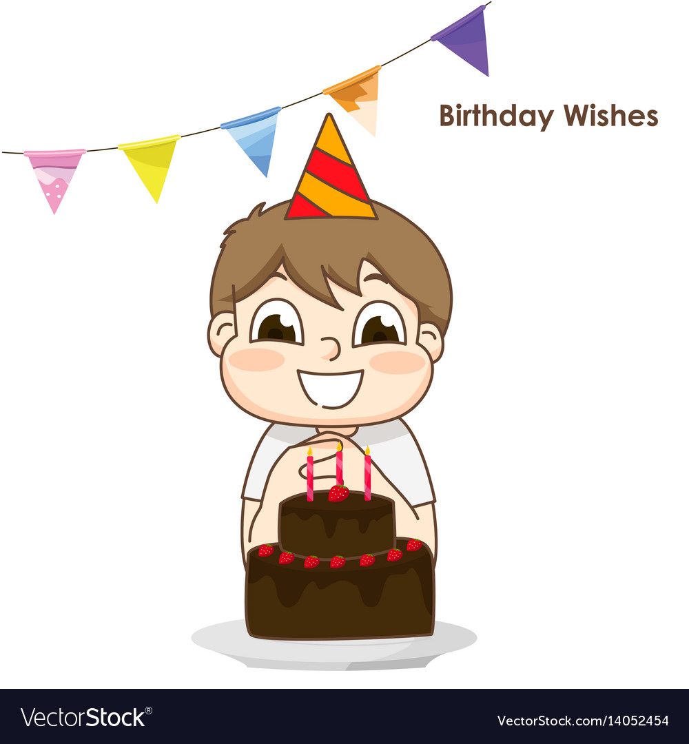 Little Boy And Surprise Birthday Cake Royalty Free Vector
