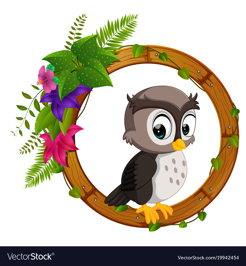 Owl on round wood frame Royalty Free Vector Image