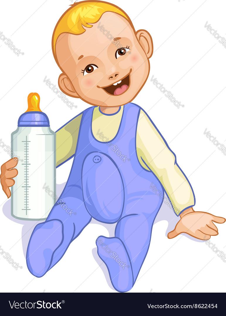 Smiling baby boy with bottle image eps10