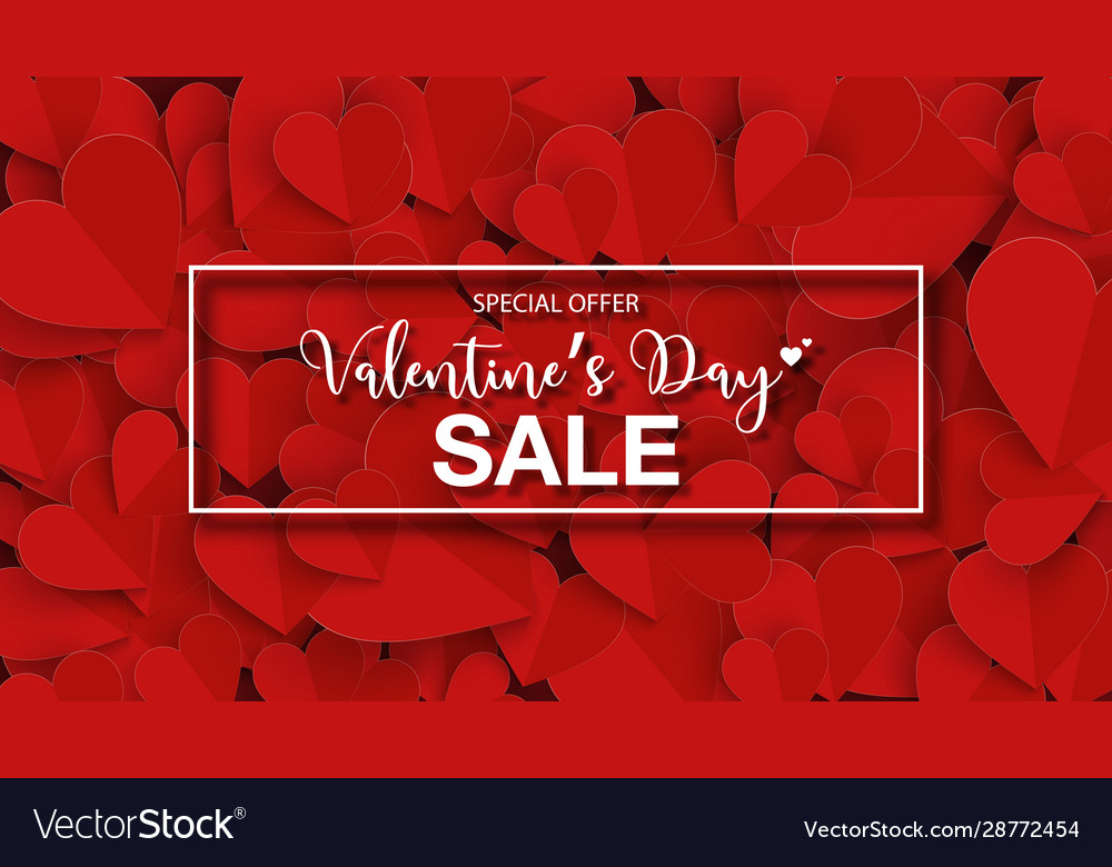 Valentines day banner sale with paper cut red