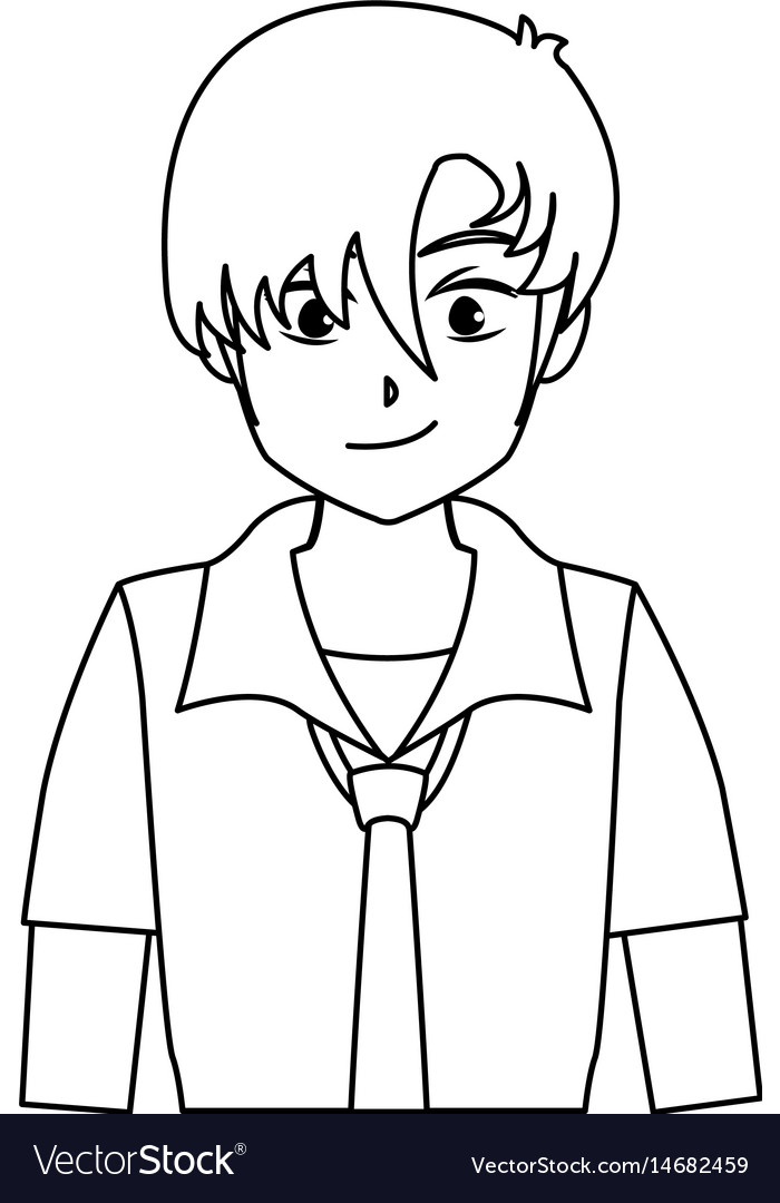 Character boy anime teenager outline Royalty Free Vector