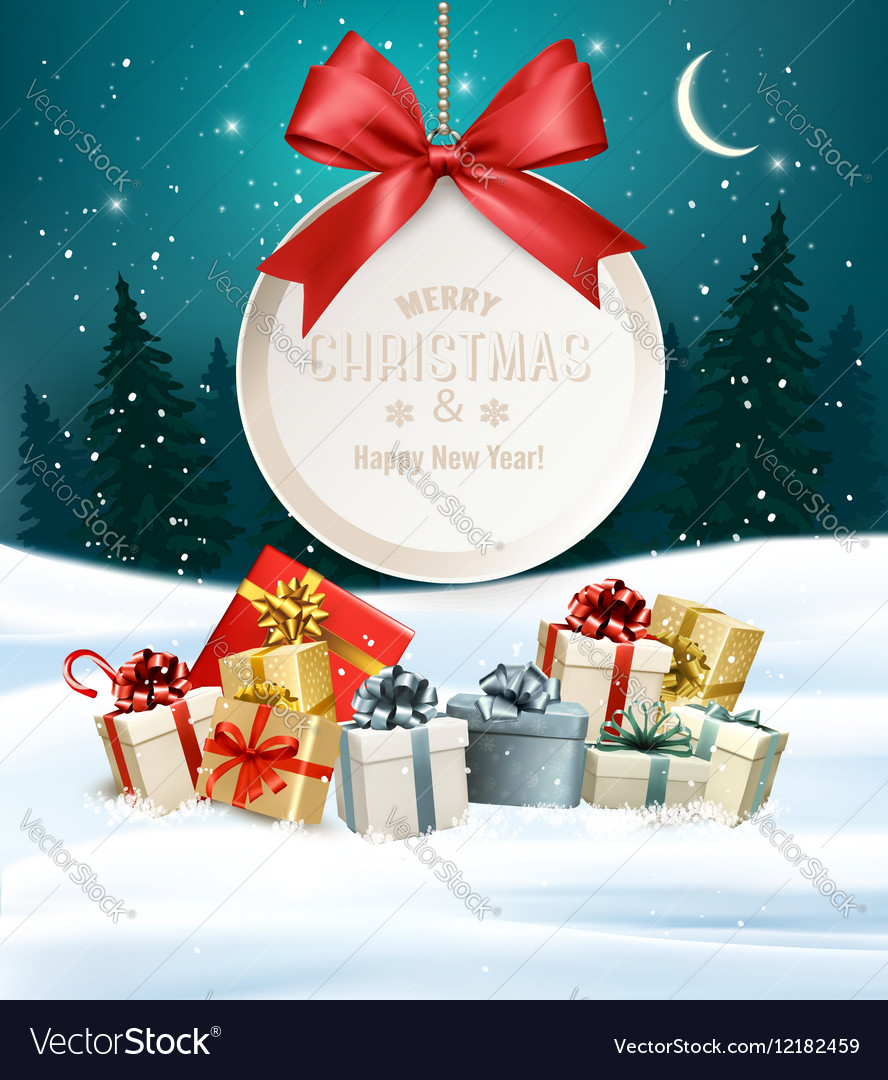 Christmas presents with a gift card and Santa hat Vector Image