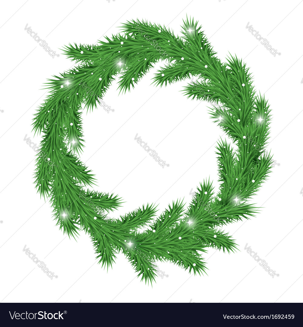Christmas wreath with snow vector image
