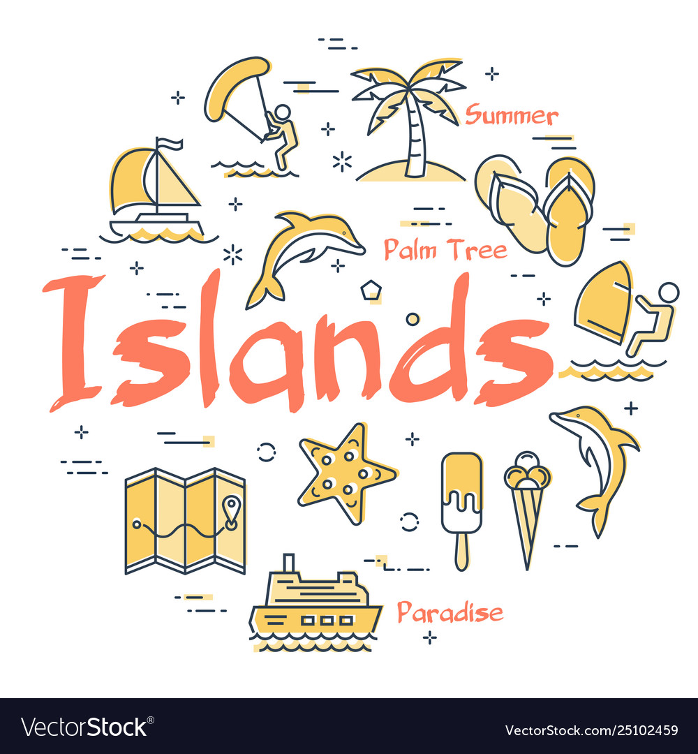 Colorful icons in summer islands theme