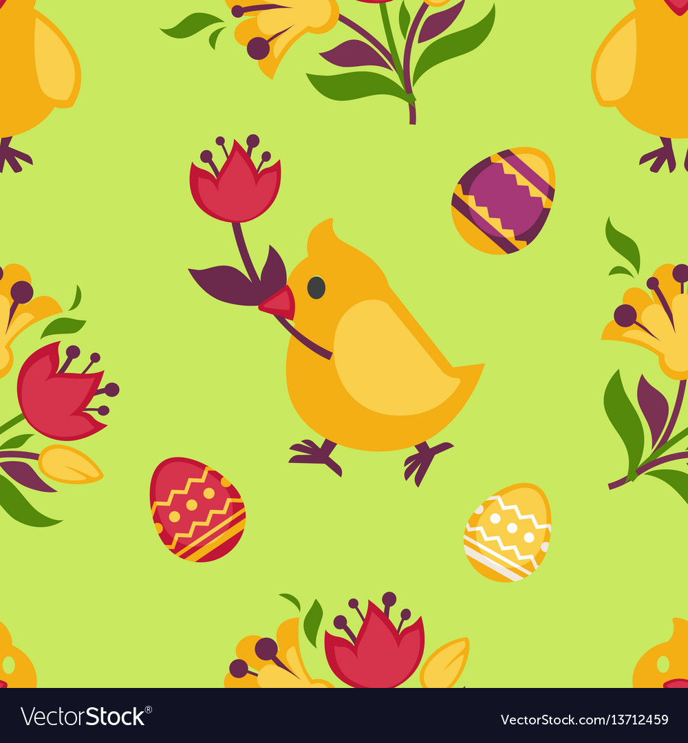 Easter seamless pattern with yellow chicken and