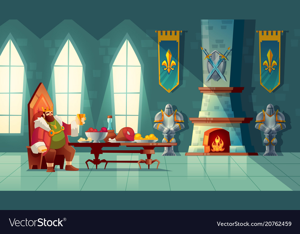 Feast concept king eats food meal vector image
