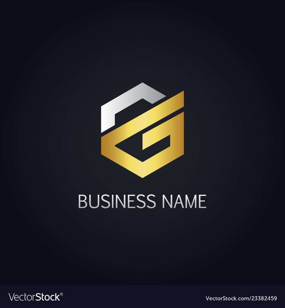 Gold polygon line letter g logo