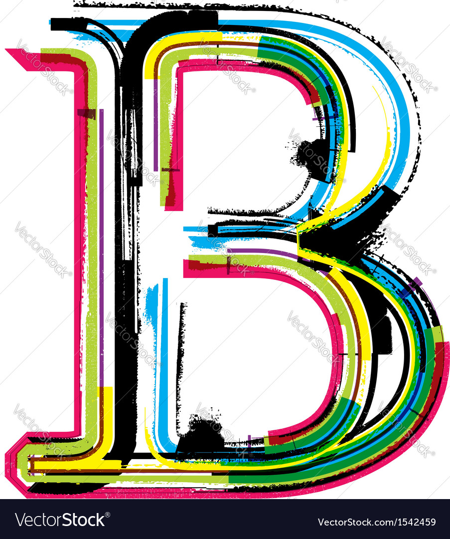 Grunge colorful font Letter B Royalty Free Vector Image cc715c01c8