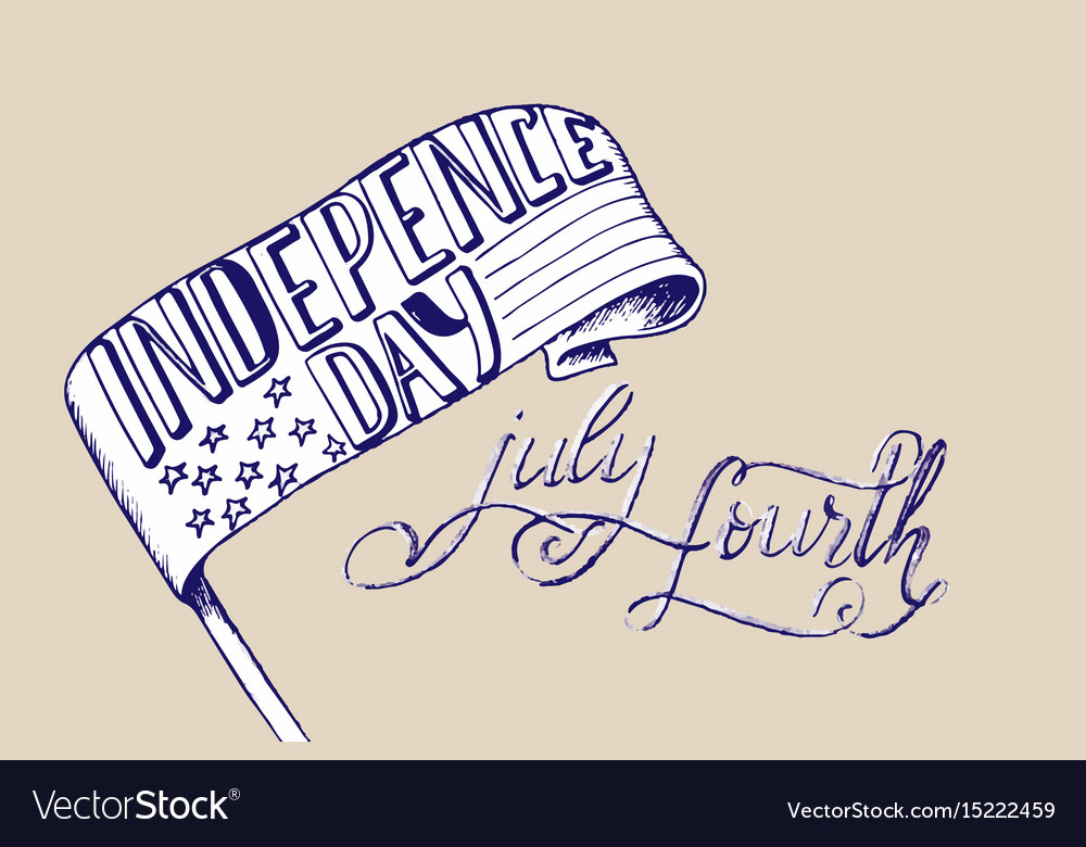 Happy independence day card hand drawn holidays