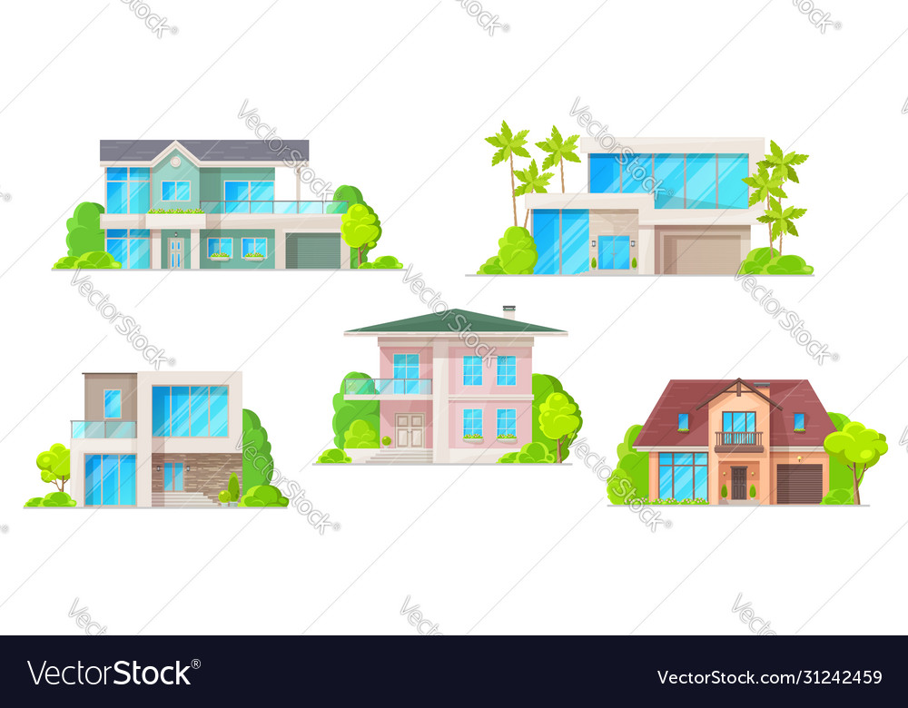 Houses cottage and apartment building icons