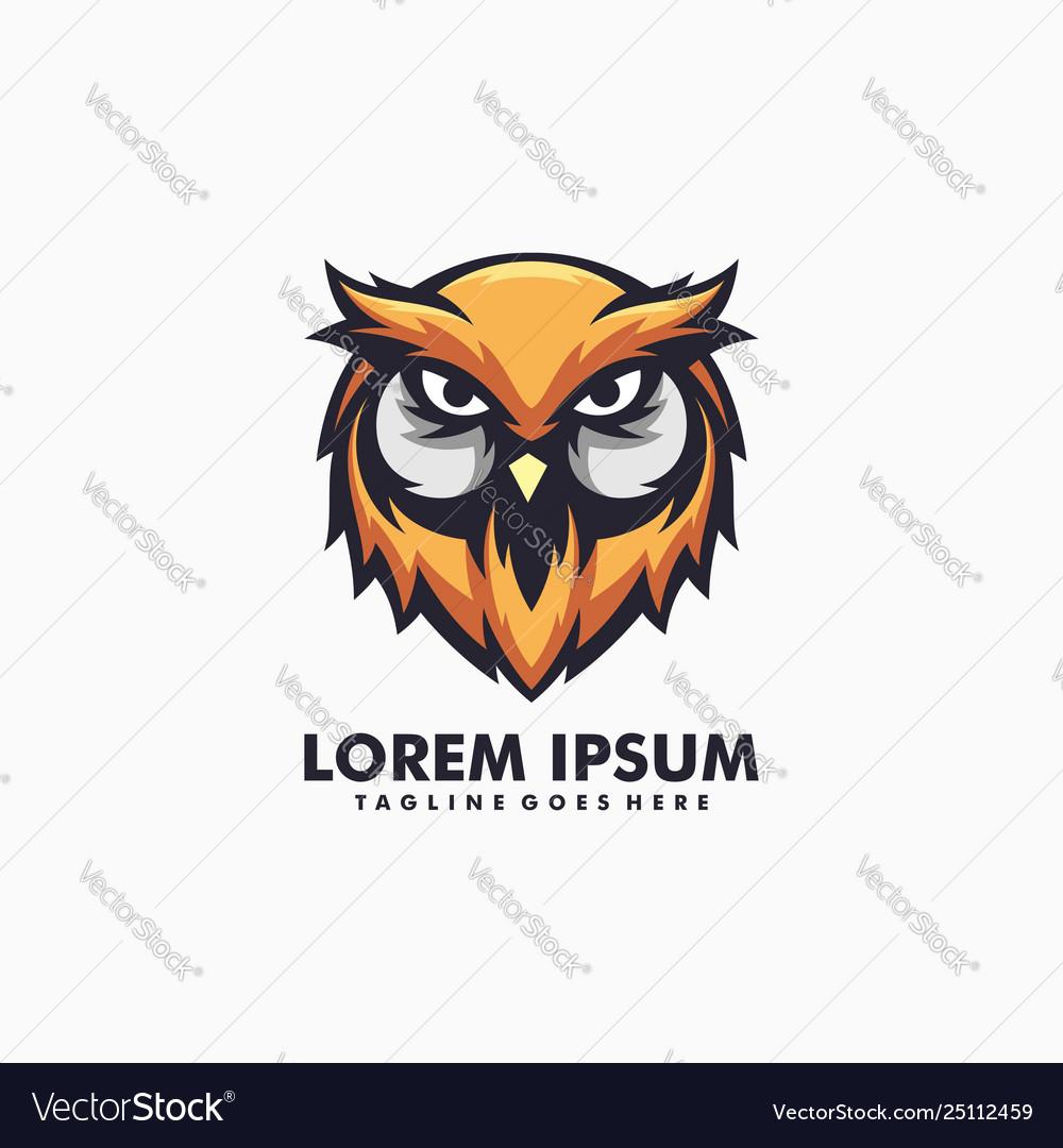 Owl colorful concept design template