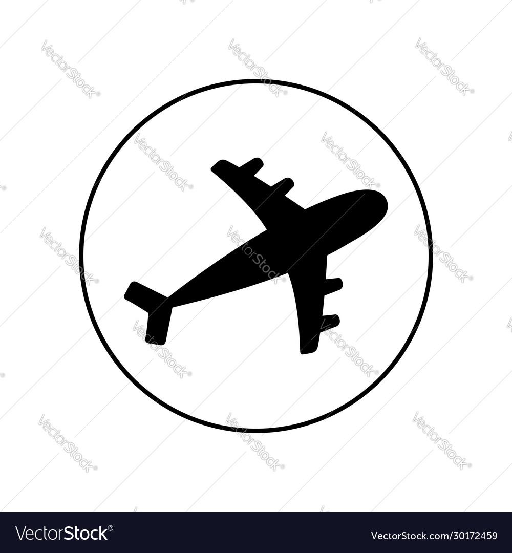 Plane round line icon black silhouette shape